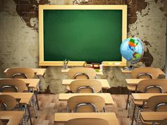 Empty classroom with school desks, chairs and chalkboard. Stock Illustration