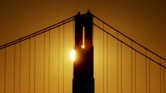Aerial sunrise view San Francisco California Golden Gate silhouette USA Stock Footage