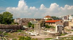 Athens. Ancient ruins of Hadrians Library - stock footage