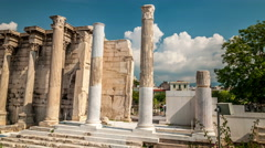 Athens. Ancient ruins of the Hadrians library. - stock footage