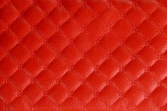 Red Colored Leather Texture Background - stock photo