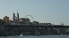 Boat travelling up the Rhine in Basel - stock footage