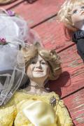Old puppet with on a flea market Stock Photos