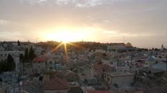 Jerusalem rooftops at sunrise Stock Footage