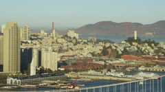 Aerial view San Francisco USA Oakland Bay Bridge Golden Gate Stock Footage