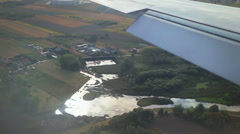 Landing approach, window view of country side. Stock Footage