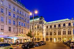 Night Life Scene In Downtown Area Of Vienna Stock Photos