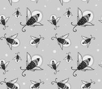 Hand-drawn seamless cartoon fireflies bugs design. - stock illustration
