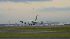 SuperJumbo landing, Frankfurt Stock Footage