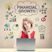 Financial Growth concept with young woman Stock Photos