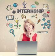 Internship concept with young woman - stock photo