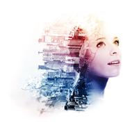 Double exposure of young woman with metropolis and doogwood Stock Photos