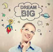 Dream Big idea sketch with young business woman Stock Photos