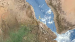 Stock Video Footage of Night to day - rotating Earth. Zoom in on Eritrea outlined