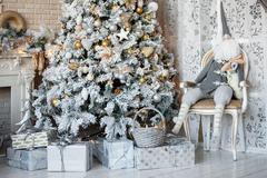Christmas and New Year decorated interior room, christmas background - stock photo