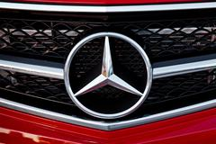 Mercedes Benz logo close-up. Mercedes-Benz is a German automobile manufacture - stock photo