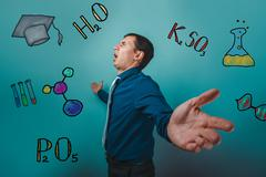 businessman chemistry man teenage student he shouts his arms sta - stock photo