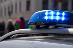 Police car on the street Stock Photos