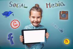 Teen girl social media infographics sketch He keeps smiling tabl Kuvituskuvat