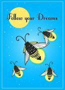 Hand-drawn cute cartoon firefly bug design. - stock illustration