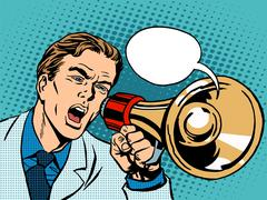 man megaphone policy promotion - stock illustration