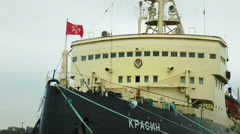 Krasin Soviet arctic icebreaker ship in Russia Stock Footage