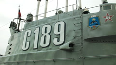 Close up of a conning tower on a Soviet nuclear submarine in Russia - stock footage