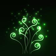 Stock Illustration of Green magic light fern greenery abstract background