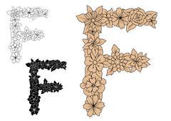 Stock Illustration of Vintage floral capital letter F