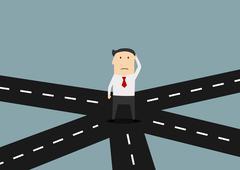 Businessman on crossroad choosing direction Stock Illustration