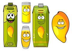Stock Illustration of Cartoon mango juice, fruit and glasses