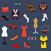 Fashion clothing and accessories flat icons - stock illustration