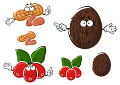 Cartoon coffee, coconut and peanut characters Stock Illustration