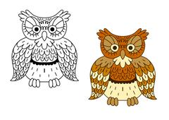 Stock Illustration of Cartoon outline brown owl bird