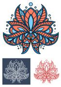 Coral persian paisley flower with blue elements Piirros