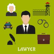 Lawyer and justice flat symbols or icons Stock Illustration
