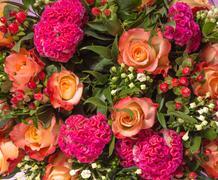 Wedding bouquet with rose bush Stock Photos