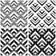 Hand drawn art deco painted seamless pattern. Vector - stock illustration