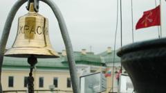 Bell on a soviet icebreaker ship in Russia - stock footage