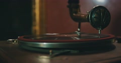 Old gramophone playing vinyl disc closeup. Stock Footage