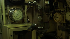Marine chronometer on a Soviet nuclear submarine in Russia Stock Footage
