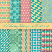 10 Vintage turquiose seamless patterns. Vector illustration. End Stock Illustration