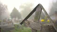 old wooden headstone and spiderweb 4K - stock footage