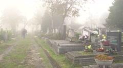 Tombstones in the graveyard 4K Stock Footage