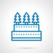 Simple line Xmas cake vector icon Stock Illustration
