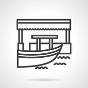 Floating market  simple line vector icon Stock Illustration