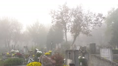 foggy morning in the cemetery 4K - stock footage