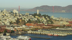 Aerial view San Francisco California USA Bridge Port Marin Headland Stock Footage