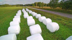 Lots of rolls of white hays on the grass Stock Footage