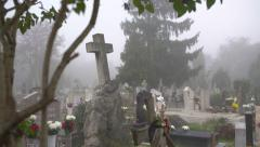 Bent cross at the cemetery 4K - stock footage